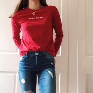 Banana Republic Red Long Sleeve T-Shirt